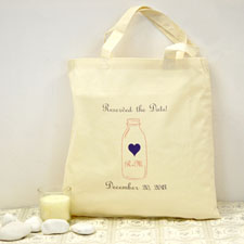 Personalized Wedding Navy And Pink Mason Jar Cotton Tote Bag