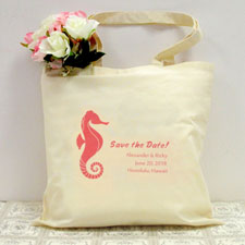 Personalized Seahorse Wedding Day Cotton Tote Bag