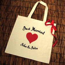 Personalized Just Married Red Heart Cotton Tote Bag