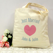 Personalized Just Married Pink Heart Cotton Tote Bag