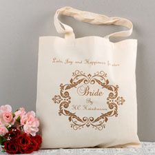 Swirly Script Bridesmaid Personalized Gift Cotton Tote Bag