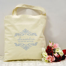 Personalized Wedding Baby Blue Scrolls Wedding Cotton Tote Bag