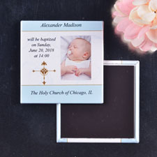 Baby Boy Baptism Photography Magnets Square Photo Magnet