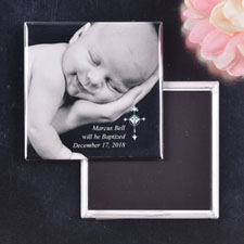 Blue Simple Cross Design Baptism Square Photo Magnet