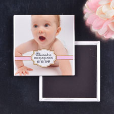 Girl Christening Naming Day Square Photo Magnet