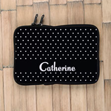 Personalized Name Black Polka Dots Ipad Mini  Sleeve