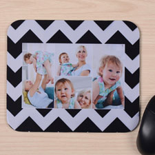 Custom Printed Black Chevron Four Collage Design Mouse Pad