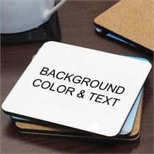 Background Color & Text Personalized Cork Coaster