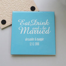 Personalized Wedding Anniversary Tile Coaster