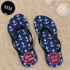 Design My Own Blue White Anchors Red Monogrammed Men Medium Flip Flop Sandals