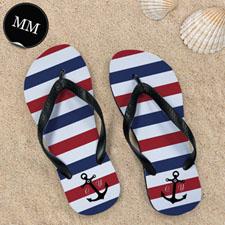 Design My Own Navy Red White Stripes Anchor Men Medium Flip Flop Sandals