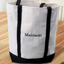 Embroidery Tote Medium Black