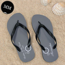 Design My Own Personalized Wedding Ring Men Medium Flip Flop Sandals