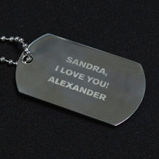 Personalized Message Engraved Dog Tag Pendant