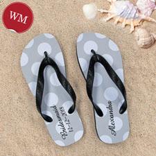Create My Own Personalized Silver Grey Polka Dots Women Medium Flip Flop Sandals