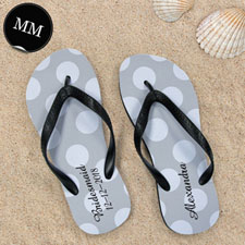 Design My Own Personalized Silver Grey Polka Dots Men Medium Flip Flop Sandals