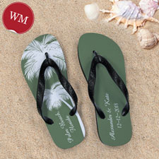 Create My Own Personalized Wedding Palm Tree Women Medium Flip Flop Sandals