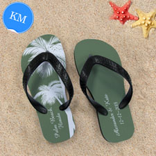 Design My Own Personalized Wedding Palm Tree Kids Medium Flip Flops
