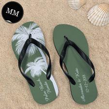 Design My Own Personalized Wedding Palm Tree Men Medium Flip Flop Sandals
