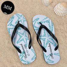 Design My Own Aqua Starfish Personalized Text, Men's Medium Flip Flop Sandals