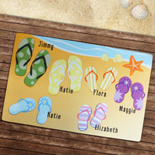 Create Your Own Personalized Flip Flops Family Welcome Door Mat