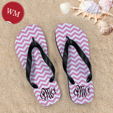 Create My Own Pink Chevron Pattern With Personalized Name, Women Medium Flip Flop Sandals