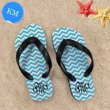 Design My Own Aqua Chevron Pattern With Personalized Name, Kid's Medium Flip Flops
