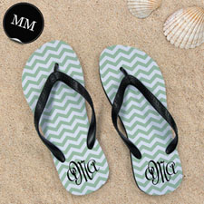 Design My Own Personalized Green Chevron Zigzag, Men's Medium Flip Flop Sandals