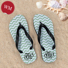 Create My Own Personalized Green Chevron Zigzag, Women's Medium Flip Flop Sandals