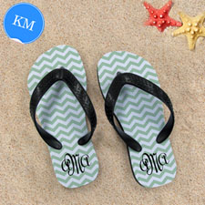 Design My Own Personalized Green Chevron Zigzag, Kid's Medium Flip Flops