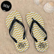 Design My Own Customizable Yellow Chevron Stripe  , Men Medium Flip Flop Sandals