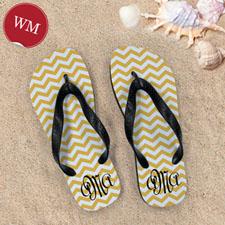 Create My Own Customizable Yellow Chevron Stripe, Women's Medium Flip Flop Sandals