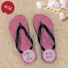Red Damask Personalized Flip Flops, Women Medium