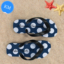 Design My Own Personalized Navy Polka Dot, Kids' Medium Flip Flops