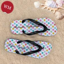 Design My Own Modern Dots With Custom Name, Women's Medium Flip Flop Sandals