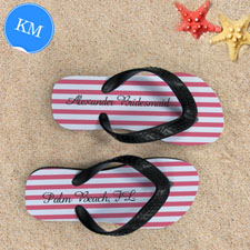 Design My Own Carol White Stripes Custom Name, Kids' Medium Flip Flops