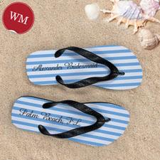 Design My Own Customizable Nautical Blue Stripes ,Women's Medium Flip Flop Sandals