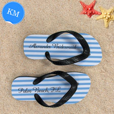 Design My Own Customizable Nautical Blue Stripes ,Kids' Medium Flip Flops