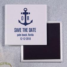 Ship's Anchor Nautical Wedding Square Photo Magnet