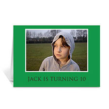 Custom Classic Green Photo Birthday Cards, 5X7 Folded