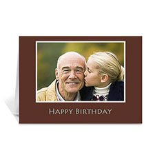Custom Chocolate Brown Photo Birthday Cards, 5X7 Folded