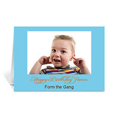 Custom Baby Blue Photo Birthday Cards, 5X7 Folded