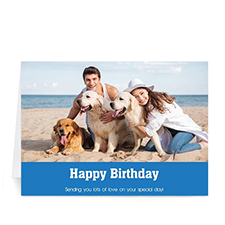 Custom Classic Blue Photo Birthday Cards, 5X7 Folded Simple
