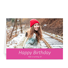 Custom Hot Pink Photo Birthday Cards, 5X7 Simple