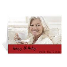 Custom Classic Red Photo Birthday Cards, 5X7 Folded Simple