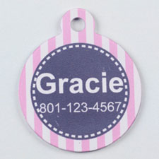 Pink and Gray Striped Round (Custom 1 Side)