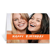 Custom Classic Orange Photo Birthday Cards, 5X7 Folded Causal