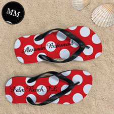 Design My Own Red Polka Dot Personalized Name, Men's Medium Flip Flop Sandals