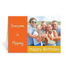 Custom Classic Orange Photo Birthday Cards, 5X7 Folded Modern