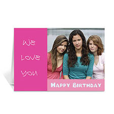 Custom Hot Pink Photo Birthday Cards, 5X7 Folded Modern